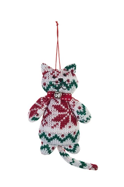 Игрушка мягкая КотикНовогодние сувениры<br>Выс=15см, текстиль, бело-красно-зеленая, подвесная<br>