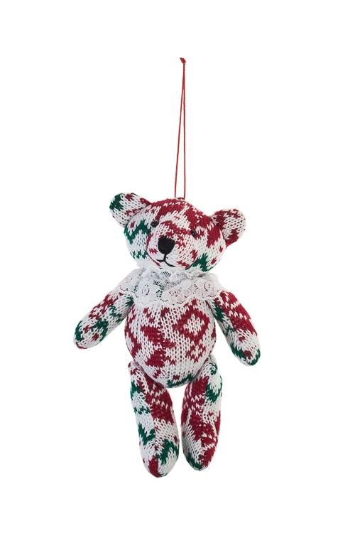 Игрушка мягкая МишкаПодарки<br>Выс=15см, текстиль, бело-красно-зеленая, подвесная<br>