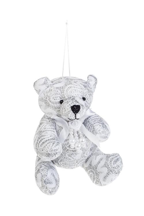 Игрушка мягкая Кружевной мишкаИгрушки и куклы<br>Выс=13см, текстиль, серебр., подвесная<br>