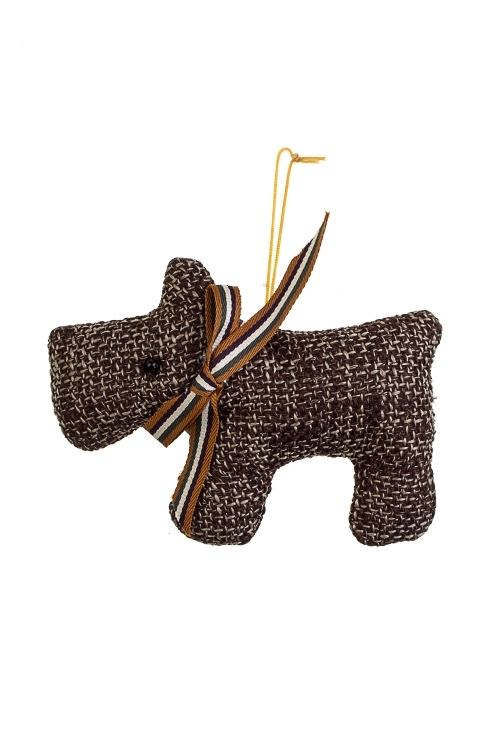 Игрушка мягконабивная Шотландский песикТекстильные игрушки<br>12*10см, текстиль, коричн., подвесная (2 цвета)<br>