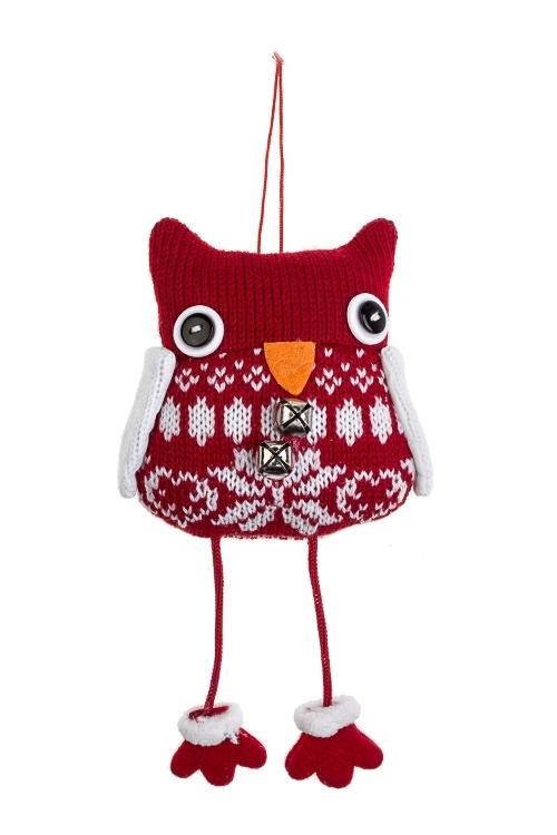 Игрушка мягконабивная Удивленная соваИгрушки и куклы<br>8*10см, текстиль, бело-красная, подвесная (2 цвета)<br>