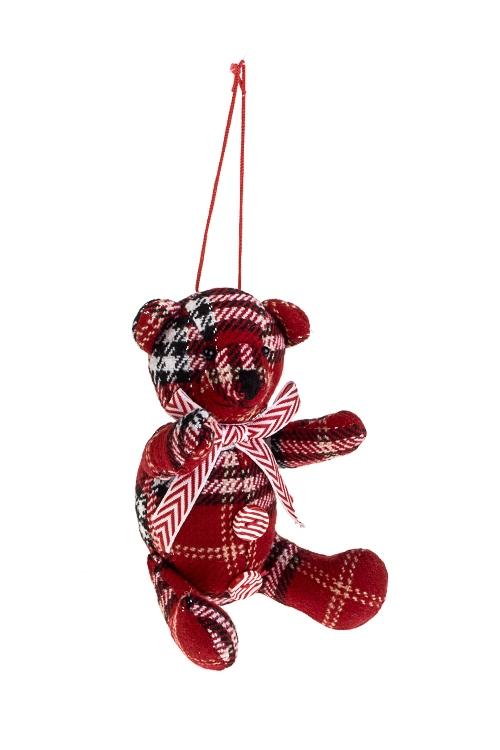 Игрушка мягконабивная Шотландский мишкаИгрушки и куклы<br>Выс=11.5см, текстиль, красно-черная, подвесная<br>
