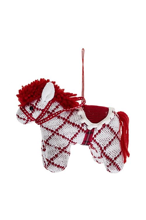 Игрушка мягконабивная ЛошадкаИгрушки и куклы<br>15*12см, текстиль, красно-белая, подвесная (2 цвета)<br>