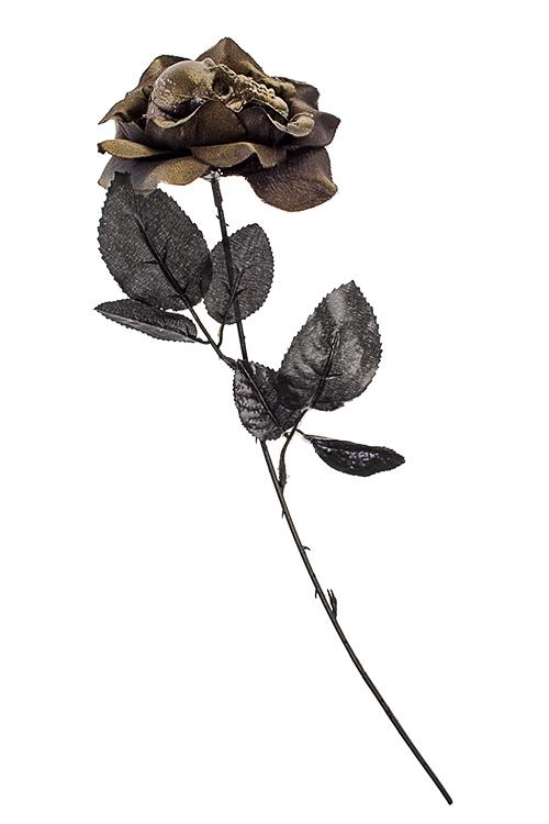 Украшение декоративное Роза-черепПодарки на Хэллоуин<br>Выс=42см, пластм., текстиль, металл, черно-золот.<br>