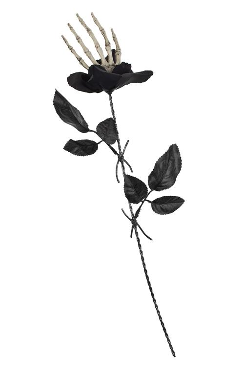 Украшение декоративное Роза-скелетонМаскарадные костюмы<br>Выс=43см, пластм., текстиль, металл, черное<br>