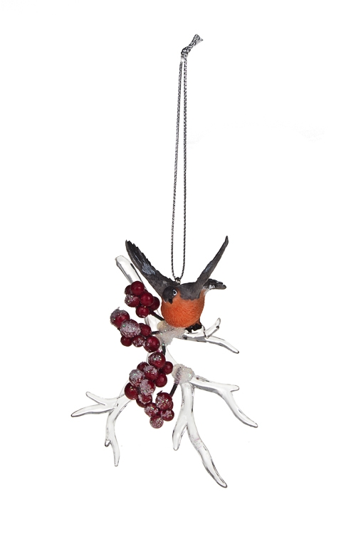 Украшение декоративное Милый снегирьЕлочные игрушки<br>Акрил, полирезин, подвесное (3 вида)<br>