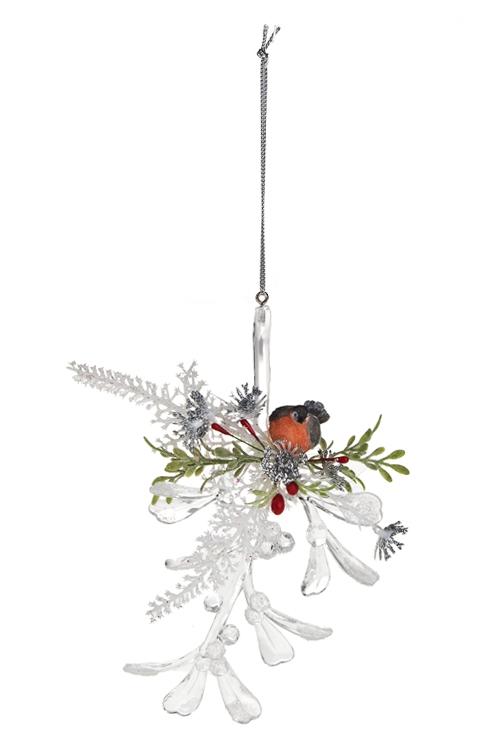Украшение декоративное Веточка со снегиремПодарки<br>Акрил, полирезин, подвесное (2 вида)<br>
