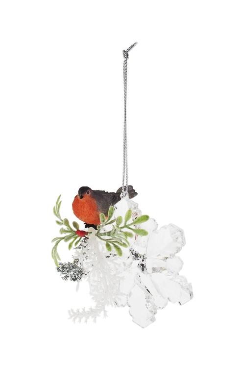 Украшение декоративное Снежинка со снегиремДекоративные гирлянды и подвески<br>Д=8см, акрил, подвесное (6 видов)<br>
