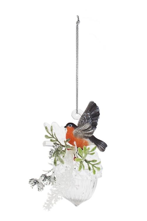 Украшение декоративное Снегирь на шишкеДекоративные гирлянды и подвески<br>Выс=9см, акрил, полирезин, подвесное<br>