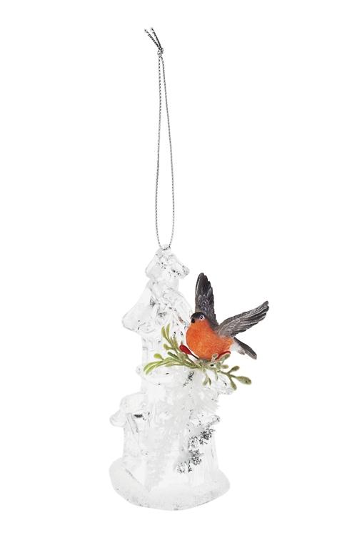 Украшение декоративное Домик со снегиремРазвлечения и вечеринки<br>Выс=12см, акрил, полирезин, подвесное (2 вида)<br>