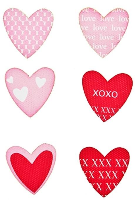 Набор наклеек Розовые сердечкиИнтерьер<br>16.5*9.5*0.3см дерево текстиль<br>