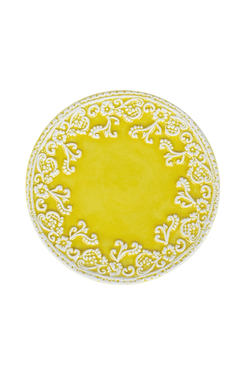 Блюдо УзорТарелки и пиалы<br>Д=17см, керам., желтое<br>