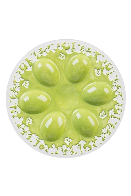 Блюдо сервировочное для яиц Весенний лугПодставки для яиц<br>Д=21см, керам., бело-зеленое<br>