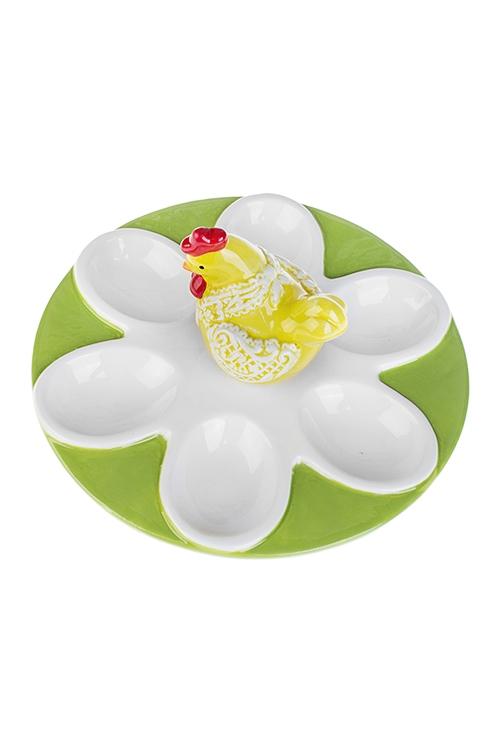Блюдо сервировочное для яиц КурочкаПосуда<br>Д=18см, керам., бело-желто-зеленое<br>