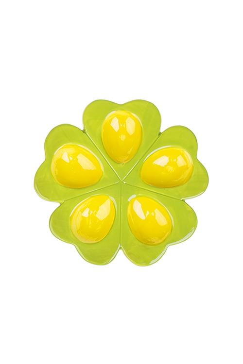 Блюдо для 5-ти яиц КлеверПосуда<br>Д=18см, керам., желто-зеленое<br>