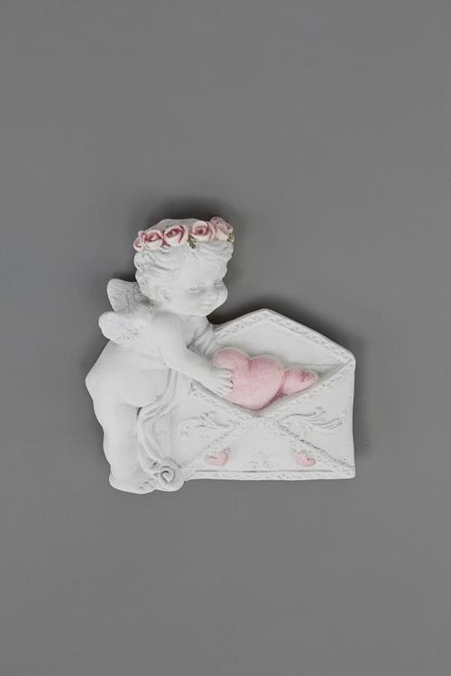 Держатель-магнит Любовное письмоСувениры и упаковка<br>Выс=5.5см, полирезин, бело-розовый<br>
