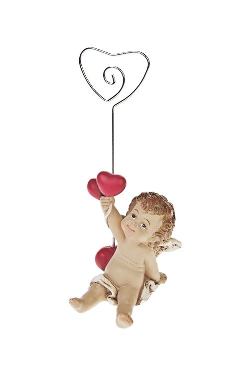 Держатель для фото Купидончик с сердцамиДержатели-зажимы для фото<br>Выс=10см, полирезин, металл<br>