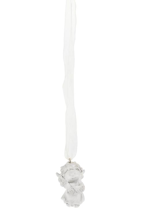 Украшение декоративное Волшебный ангелочек с любовным письмомСувениры и упаковка<br>Выс=5см, полирезин, бело-крем., подвесн.<br>