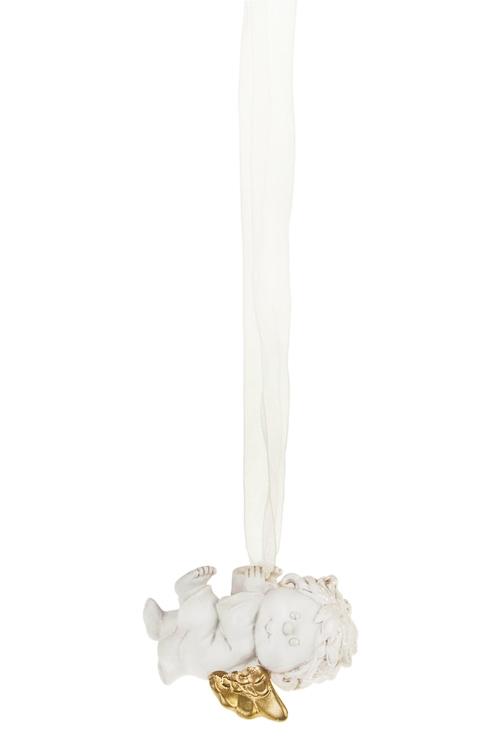 Украшение декоративное Волшебный ангелочекПодарки<br>Дл=6см, полирезин, крем.-золот., подвесное (2 вида)<br>