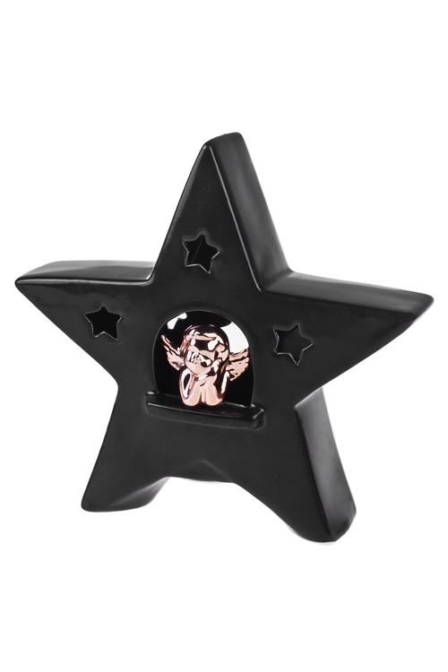 Украшение для интерьера светящееся Звезда с мечтающим ангеломДекор с подсветкой<br>17*5см, керам., черно-золот., на батар.<br>