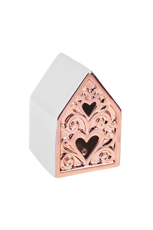 Украшение для интерьера светящееся Домик с сердцамиКерамические статуэтки<br>7*7*10см, керам., бело-розов.золот., на батар.<br>