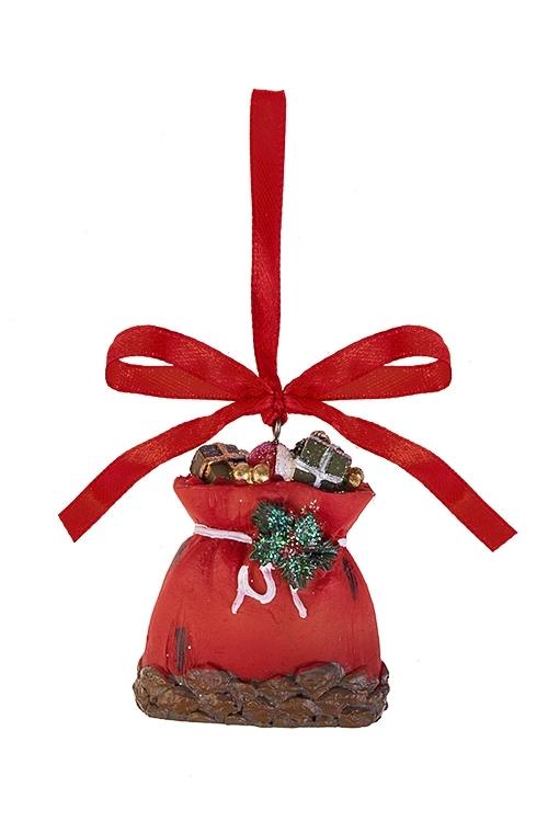 Украшение декоративное Мешок с подаркамиСувениры и упаковка<br>Выс=6см, полирезин, красное, подвесное<br>