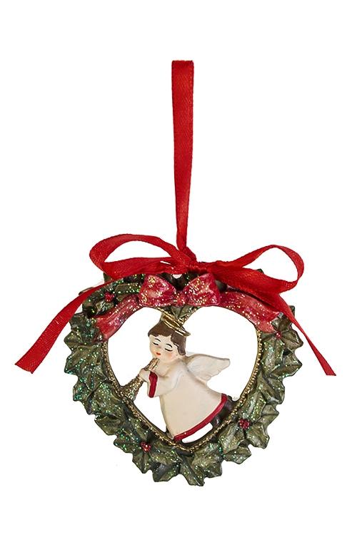 Украшение декоративное Веночек с ангелкомСувениры и упаковка<br>Выс=7см, полирезин, зелено-красно-крем., подвесное<br>