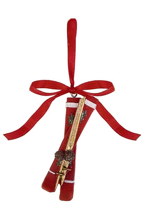 Украшение декоративное ЛыжиСувениры и упаковка<br>Выс=8см, полирезин, красное, подвесное<br>