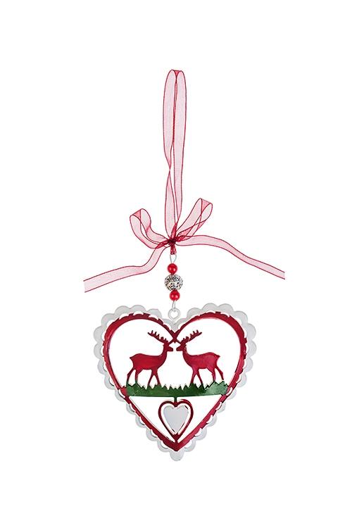 Украшение декоративное СердечкоПодарки<br>Выс=9см, металл, подвесное (3 вида)<br>