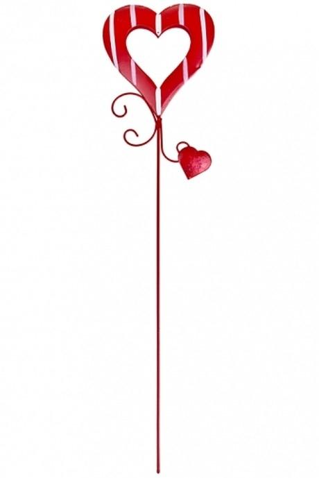 Украшение декоративное Полосатое сердцеСувениры на палке<br>Выс=27см, металл, красное, на палке<br>