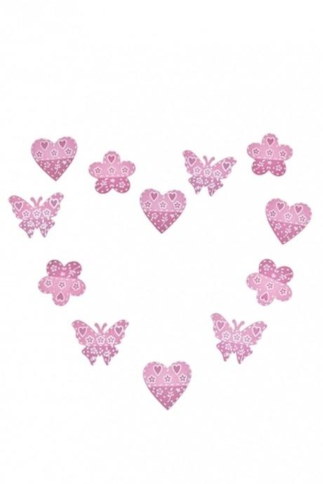 Набор украшений декоративных СердцаСувениры на липучке<br>Выс=3.5см, дерево, розовый, на липучке<br>