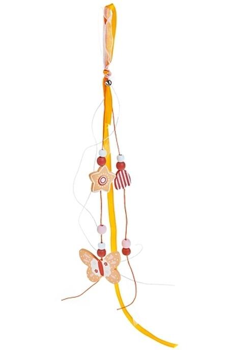Сувенир-подвеска Парящая бабочкаИгрушки и куклы<br>Дл=45см текстиль дерево крем.-персик. (2 вида)<br>