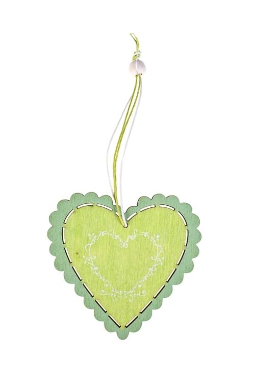 Украшение декоративное Кружевное сердцеДекоративные гирлянды и подвески<br>Д=10см, дерево, подвесное (2 вида)<br>