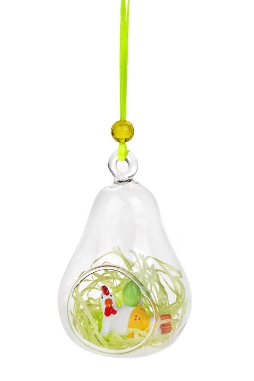 Украшение декоративное Курочка с яйцомДекоративные гирлянды и подвески<br>7.5*11.5см, полирезин, стекло, подвесное (2 вида)<br>