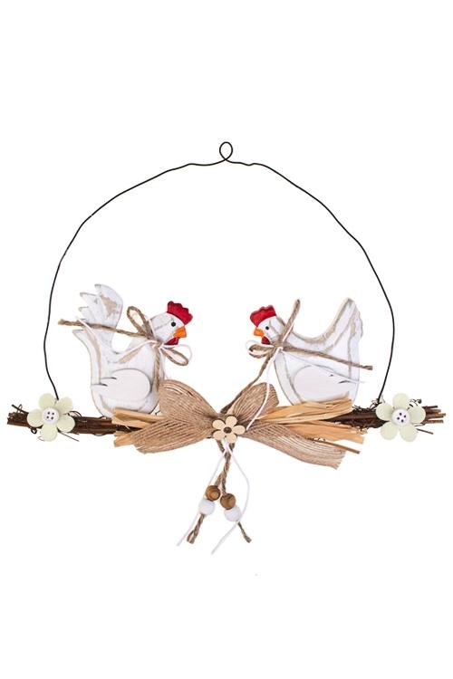 Украшение декоративное КурочкиДекоративные гирлянды и подвески<br>10*27см, дерево, подвесное<br>