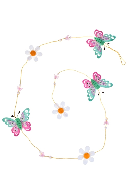 Украшение декоративное Гирлянда из бабочекДекоративные гирлянды и подвески<br>Дл=120см, фетр<br>
