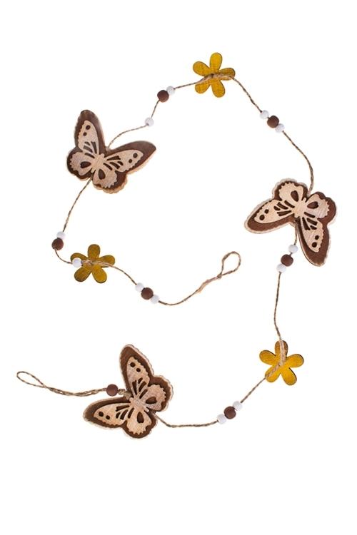 Украшение декоративное Гирлянда из кружевных бабочекДекоративные гирлянды и подвески<br>Дл=100см, дерево<br>