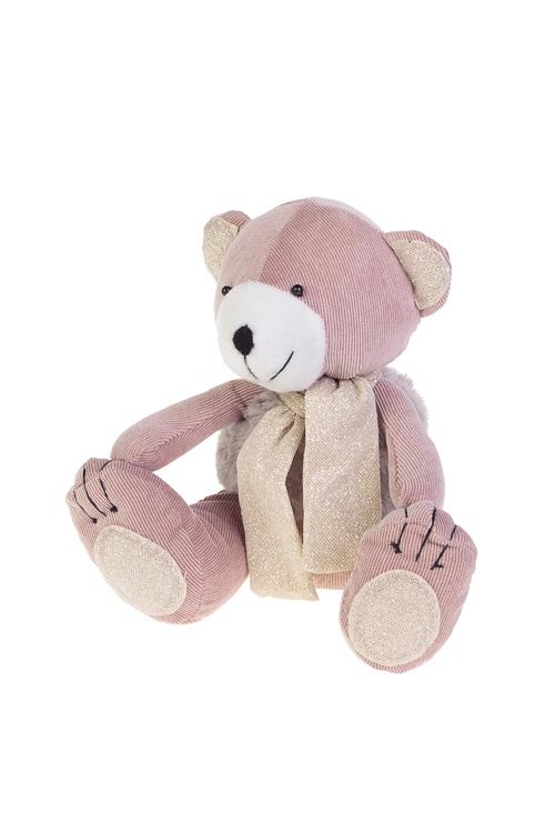 Игрушка мягконабивная Розовый мишкаИгрушки и куклы<br>Выс=18см, текстиль, розово-серая, ручн. раб.<br>