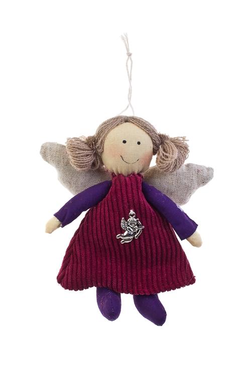 Кукла мягконабивная АнгелочекИгрушки и куклы<br>Выс=15см, текстиль, малин.-фиолет., подвесная<br>