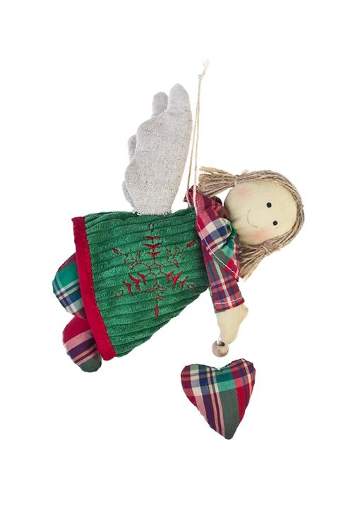 Кукла мягконабивная Парящий ангелИгрушки и куклы<br>Дл=15см, текстиль, красно-зеленая, подвесная (3 вида)<br>