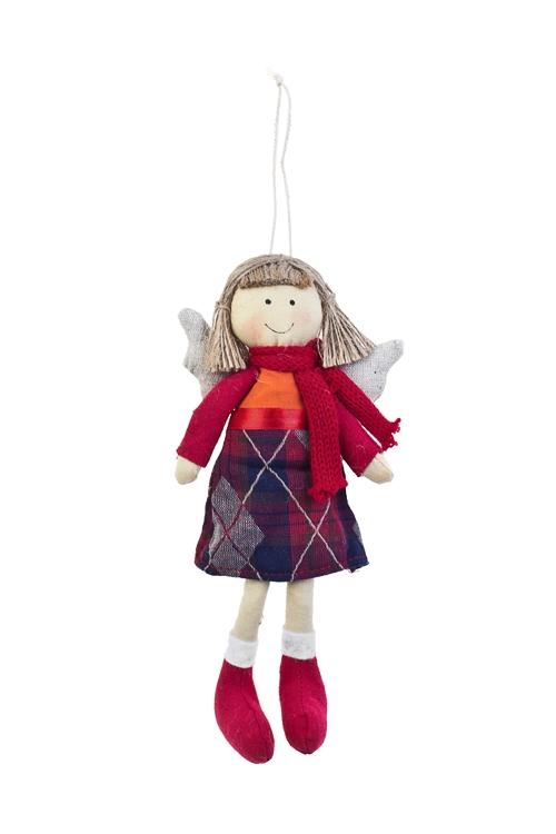 Кукла мягконабивная Ангелочек в шарфикеИгрушки-куклы<br>Выс=22см, текстиль, кр.-борд., подвес. (2 вида), ручн. раб<br>