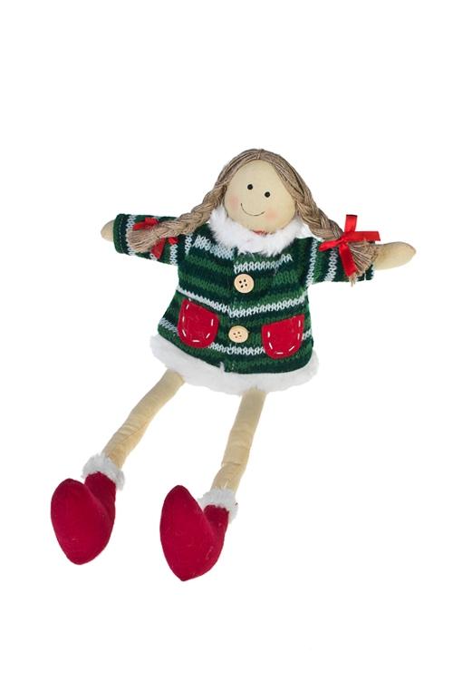 Кукла мягконабивная Счастливая девочкаНовогодние сувениры<br>Выс=30см, текстиль, красно-зелен. (2 вида), ручн. раб.<br>