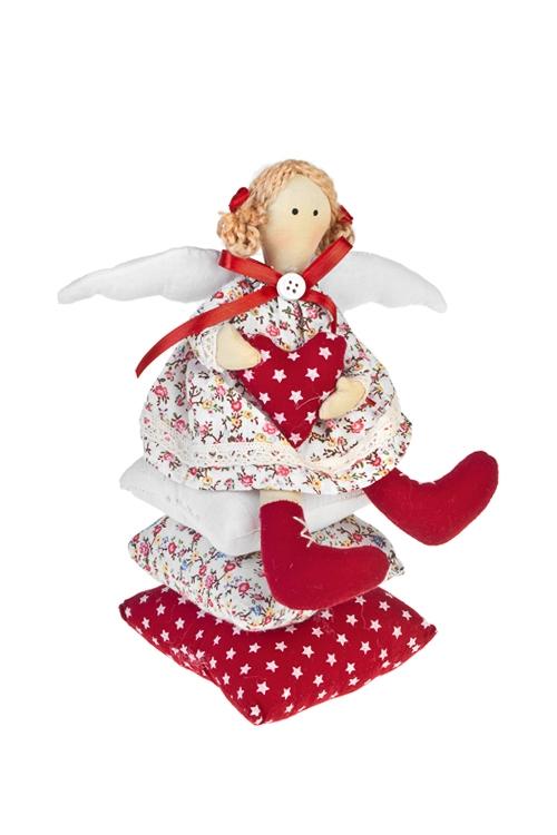 Кукла мягконабивная Ангелочек на подушкахИгрушки и куклы<br>11*23см, текстиль, бело-красная<br>
