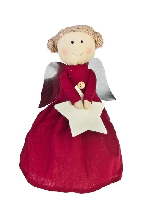 Кукла мягконабивная Прекрасный ангелНовогодние сувениры<br>Выс=26см, текстиль, борд. (2 вида), ручн. раб.<br>