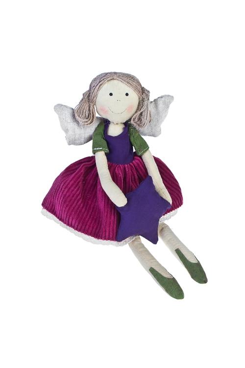 Кукла мягконабивная Счастливый ангелокНовогодние сувениры<br>Выс=27см, текстиль, малин.-фиолет. (2 вида), ручн. раб.<br>