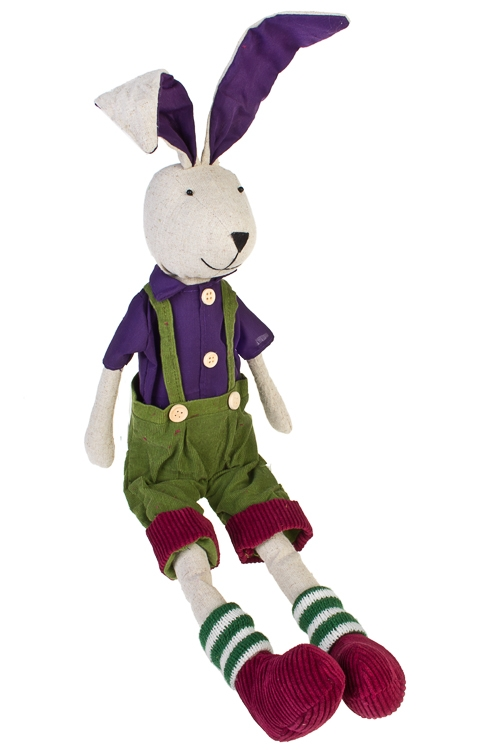 Игрушка мягкая Яркий зайкаИгрушки и куклы<br>Выс=56см, текстиль, малин.-фиолет., подвесная (2 вида), ручн. раб.<br>