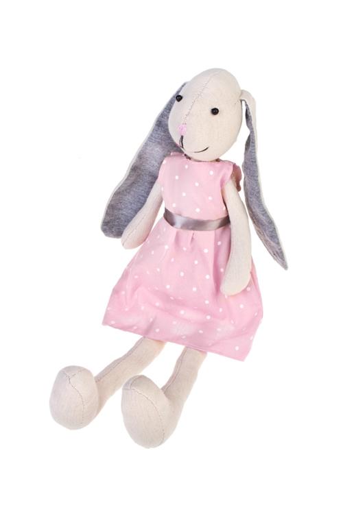Игрушка мягкая Милая зайкаИгрушки и куклы<br>Выс=47см, текстиль, бело-розово-серая, подвесная (2 вида), ручн. раб.<br>