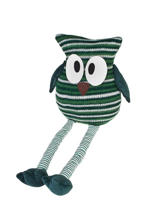 Игрушка мягконабивная Удивленная соваИгрушки и куклы<br>Выс=35см, текстиль, зел.-изумрудн. (2 вида), ручная работа<br>