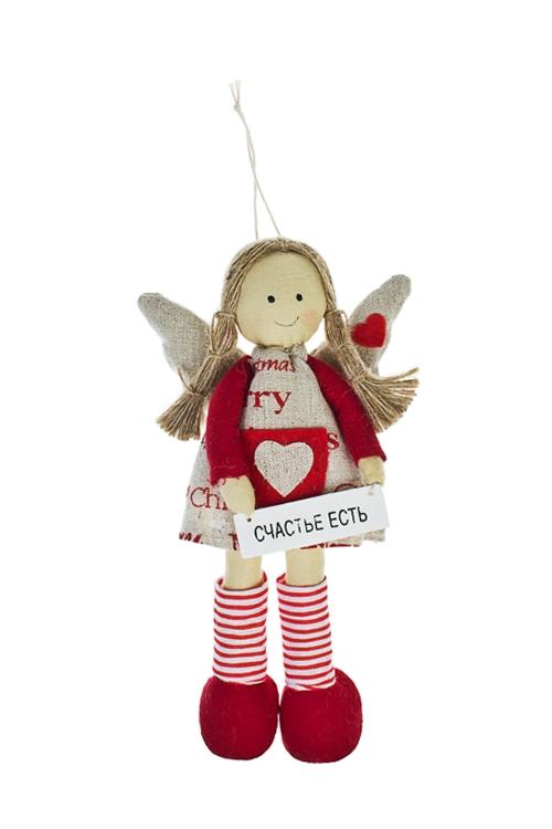Кукла мягконабивная Счастливая феечкаИгрушки и куклы<br>Выс=20см, текстиль, красно-крем., подвесная, ручная раб.<br>