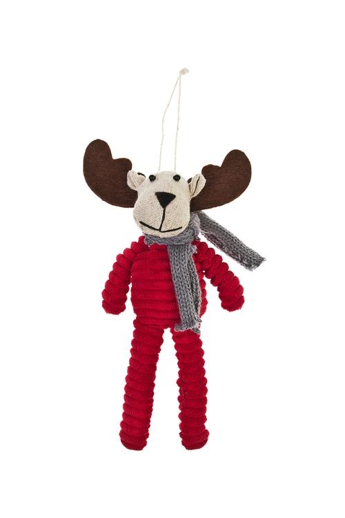 Игрушка мягкая ОленьИгрушки и куклы<br>Выс=20см, текстиль, крем.-красная, подвесная, ручная работа<br>